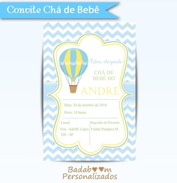 Convite Chá De Bebê Balão Convite Infantil Pinterest Baby