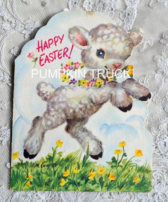 Vintage Easter Card Marjorie Cooper Lamb Used Rust Craft Vintage Easter Cards Vintage Greeting Cards Vintage Easter