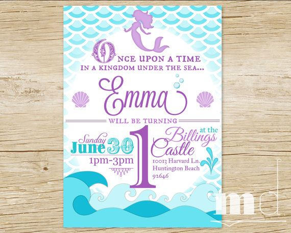 Mermaid Birthday Party Invitation Little Scales Invite The Disney Ariel Princess