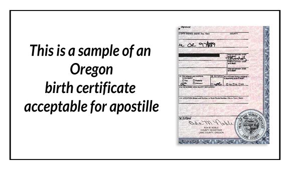 This Is A Sample Of An Oregon Birth Certificate Acceptable For