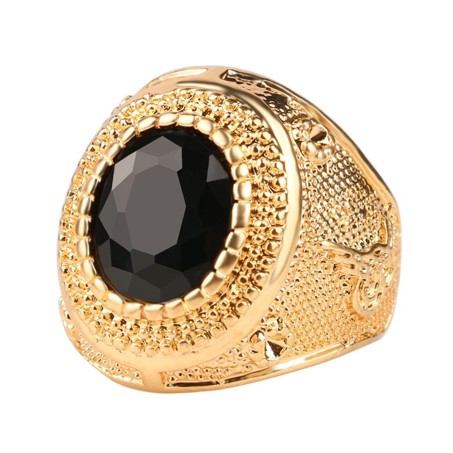 Dubai Gold Color Man Rings Vintage Jewelry Black Red Ancient Word