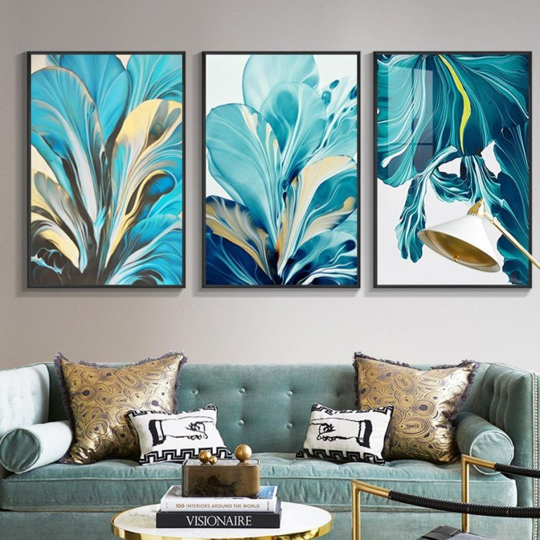 Pop Art Prints Abstract Blue Gold Leaf Tableaux Poster Decorative Wall Art Picture Nordic Living Room Kitchen Canvas Decorativos In 2021 Blue Wall Art Canvas Art Wall Decor Wall Art Pictures Wall art prints living room