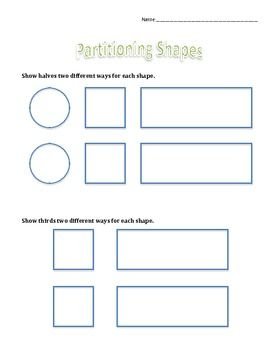 2.G.3 Partitioning Shapes 2nd grade worksheets, Teaching