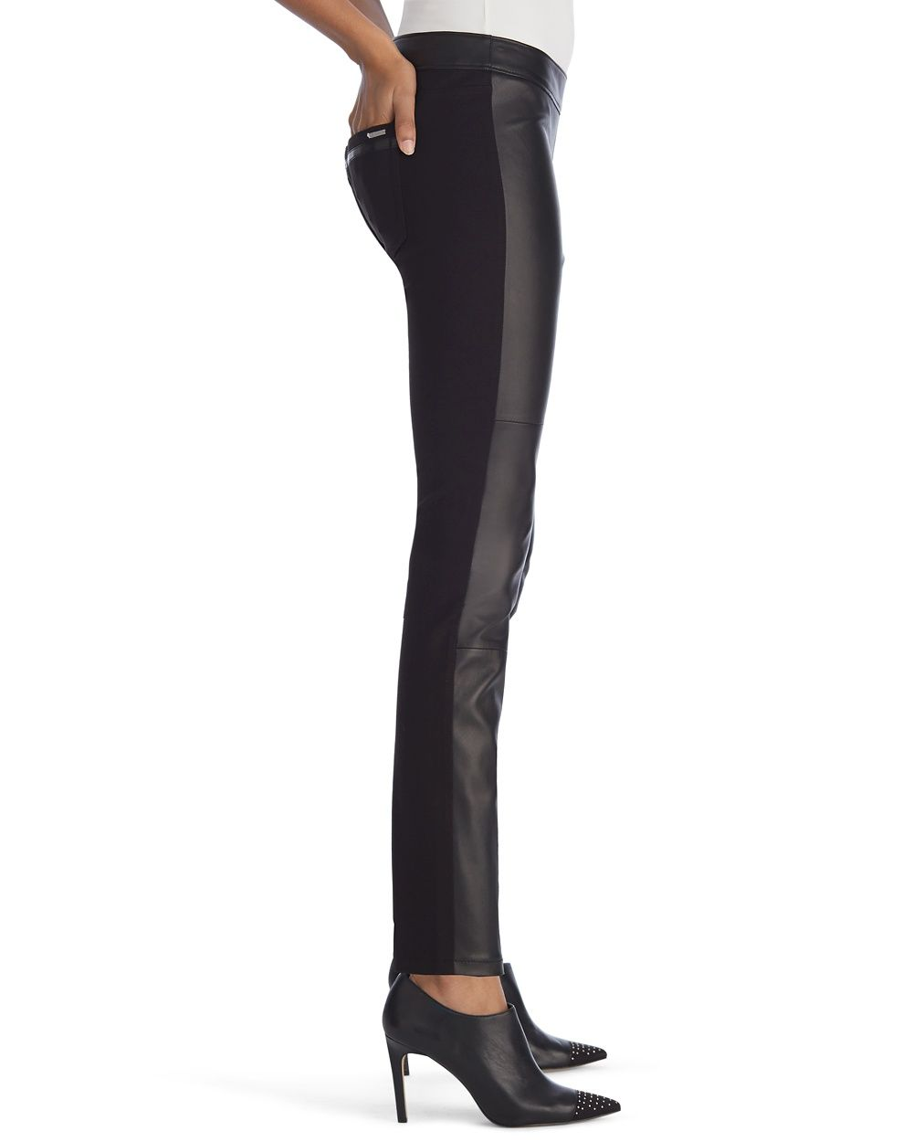 Luxe Leather Front Black Legging - White House | Black Market
