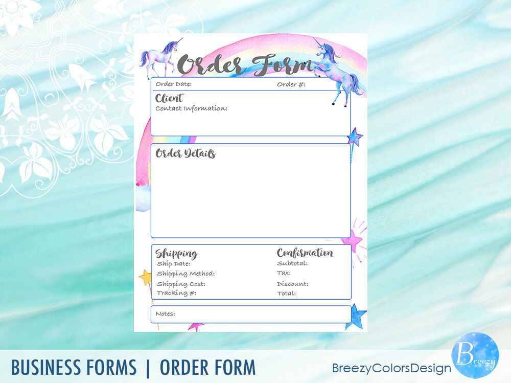 Unicorn Order Form Templates, Craft Show, Baby Nursery Business - printable order form