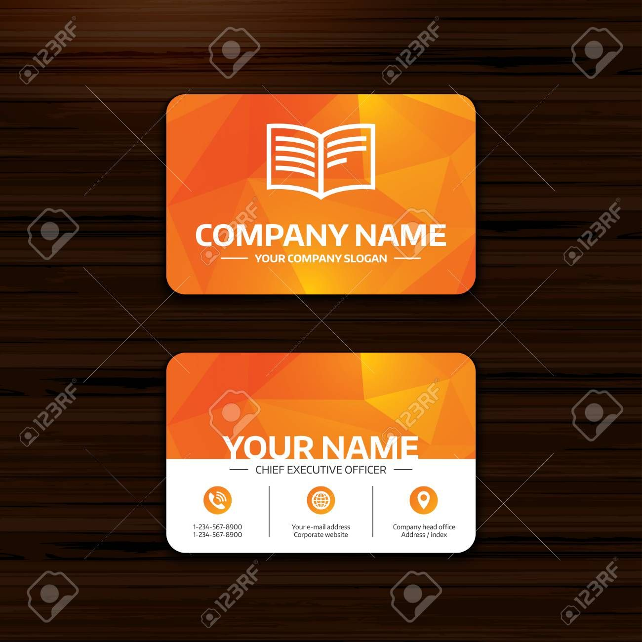 Business Or Visiting Card Template Book Sign Icon Open Book Pertaining To Business Card Visiting Card Templates Visiting Cards Birthday Card Template Free