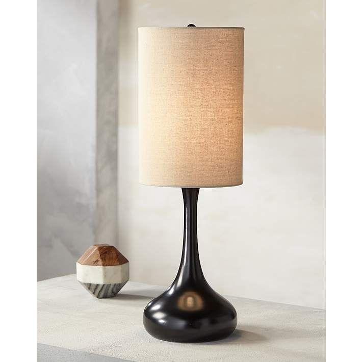 Espresso Bronze Droplet Table Lamp With Cylinder Shade 3t491 Lamps Plus Modern Table Lamp Bronze Table Lamp Modern Table Lamp Design