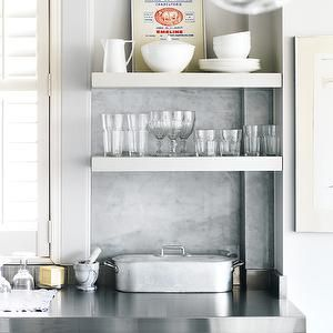 Stainless Floating Shelves Brilliant Style At Home  Kitchens  White Kitchen Cabinets Stainless Steel Inspiration Design