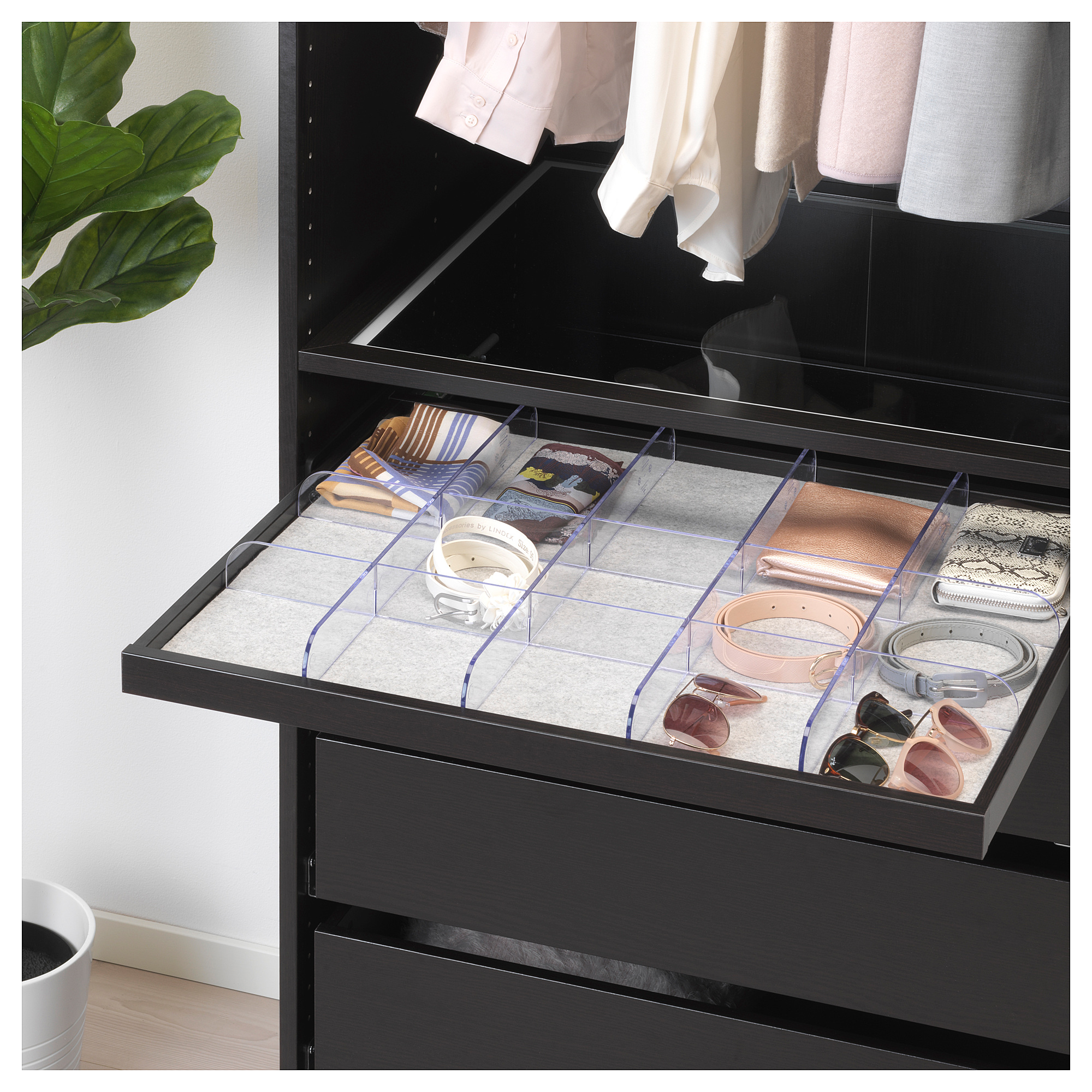Ikea komplement pullout tray with divider blackbrown