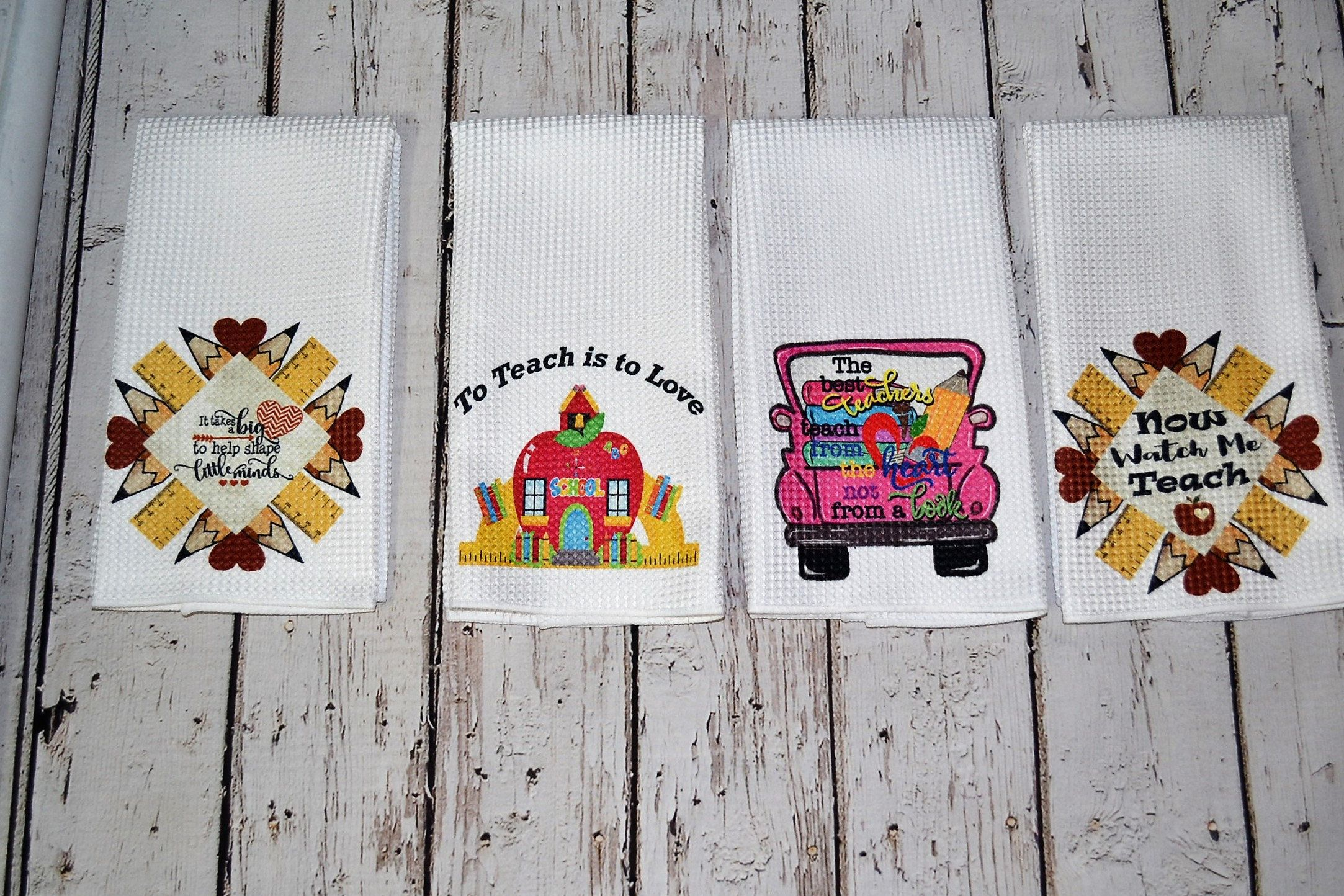 Teacher appreciation week~ Teacher humor Waffle hand towels ~ Thank you gift teachers principal educators