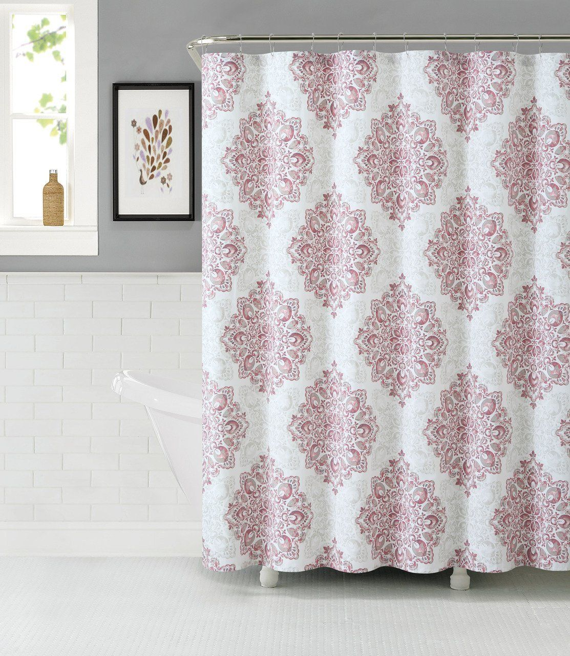 Amazon Com Tranquility Cotton Rich Fabric Shower Curtain With