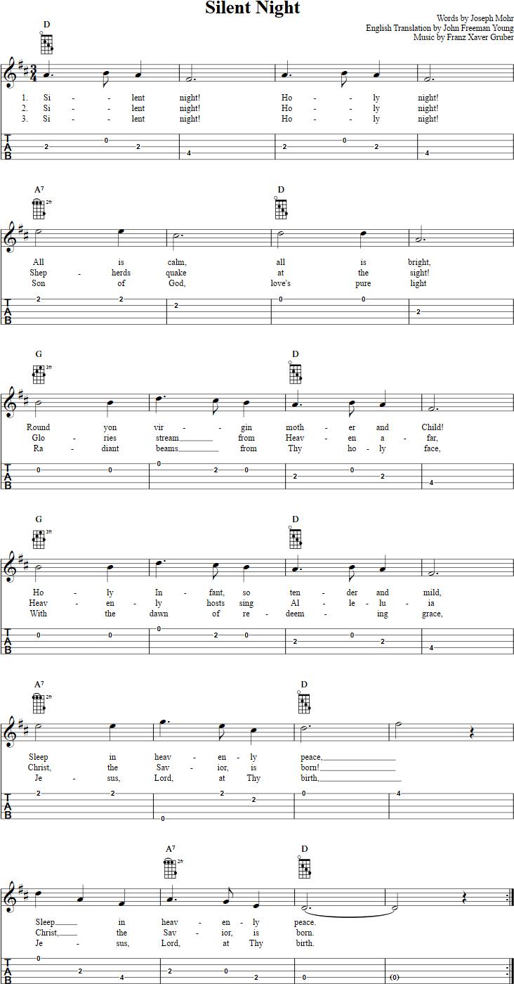 Silent Night --Banjo - tabulatury,tablature,tab,tabs ...