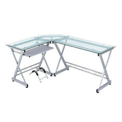 L Shaped Computer Desk Silver/Clear   Techni Mobili