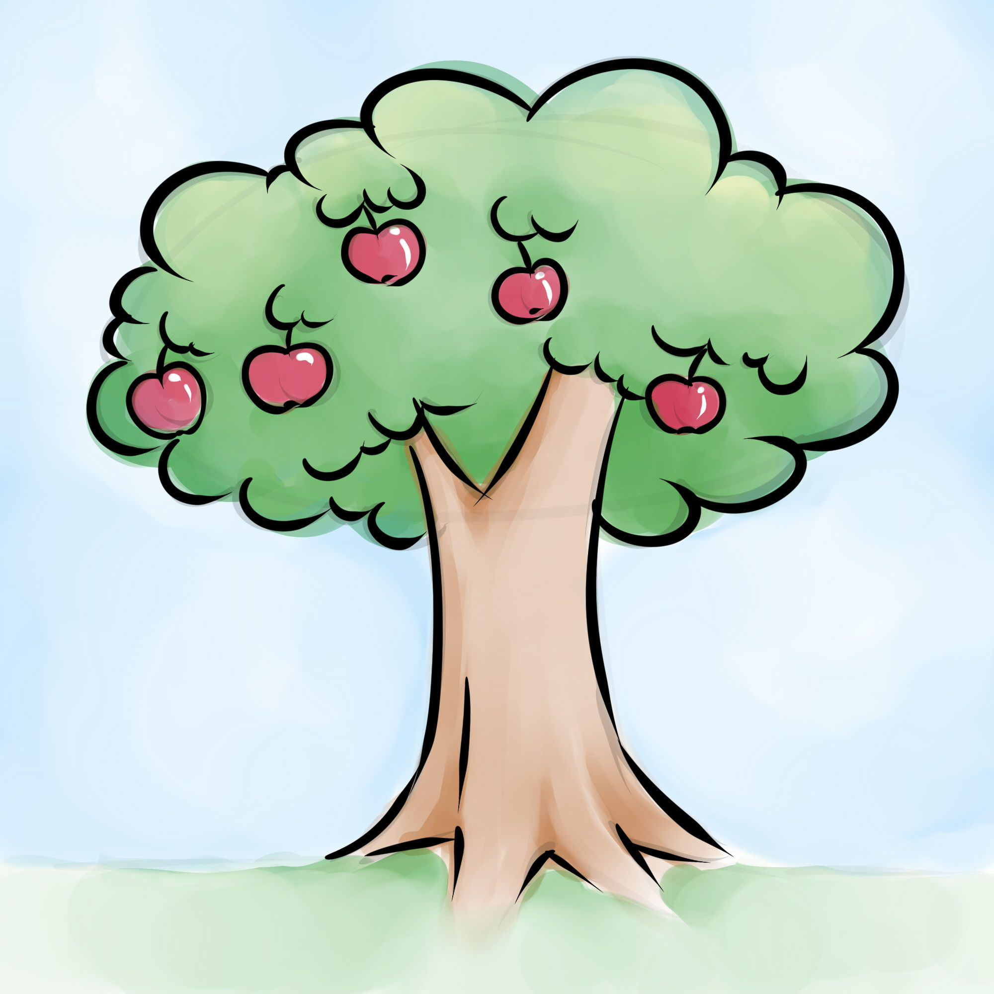 How to Draw an Apple Tree via Drawing apple