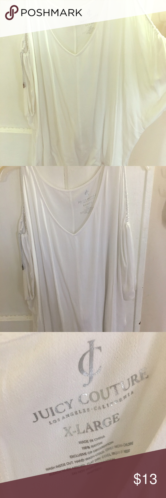 White blouse Off the shoulder white blouse with cutouts between shoulder and mid arm length , nice style for spring and summer season! 🌸 Juicy Couture Tops Blouses