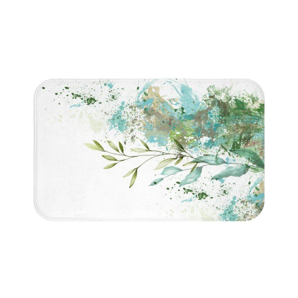 Abstract Green Bath Mat   $45.00   Liz Kapiloto Art & Design #bathmat #bathroomdecor #bathroom #bathrug #green #turquoise #abstract #bathideas #homedecor #bathdecor #bathroomset #lizkapiloto
