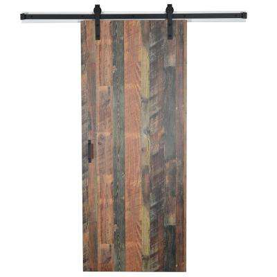 Envivo 37 In X 84 In Antique Bourbon Pine 8215 12 Solid Core Wood Flush Barn Door With Sliding Door Hardware Kit 83164 The Home Depot Sliding Door Hardware Barn Door Interior Sliding Barn Doors