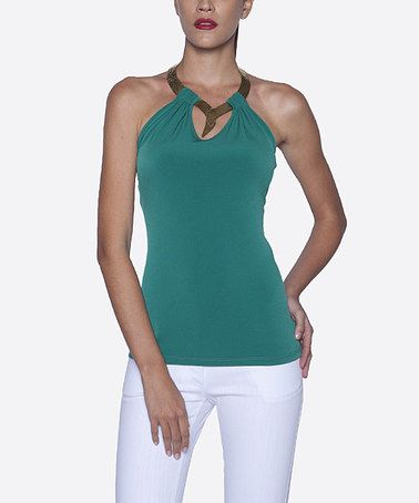 Look what I found on #zulily! Dark Green Bronze-Necklace Halter Top by Elfe #zulilyfinds