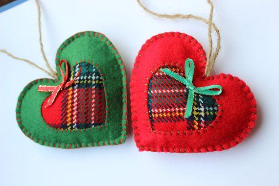 Set of 2 Christmas ornaments  Felt Hearts Ornament New Year Decoration Xmas Decor Christmas Tree Decor