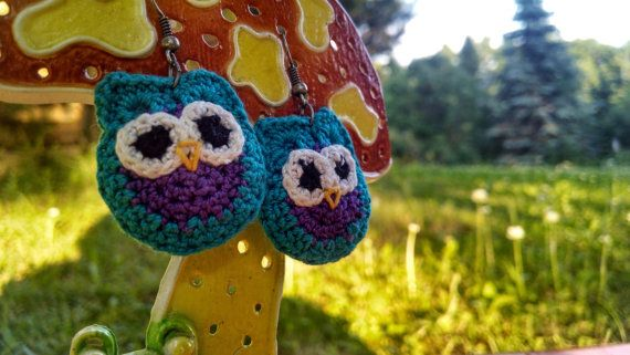Turquoise Owl Earrings by MaBsBoutique on Etsy, $12.50