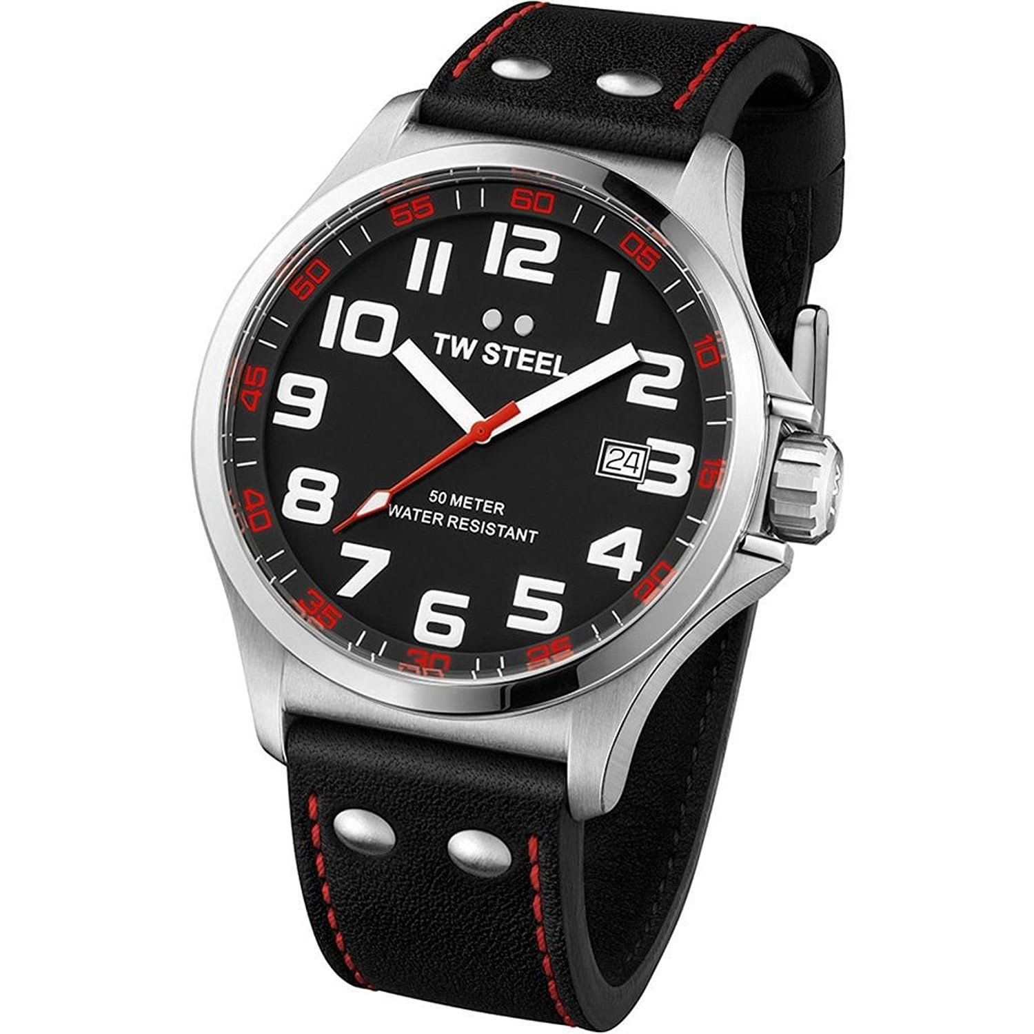 TW Steel TW411 Pilot Black Leather Strap with Red Stitches
