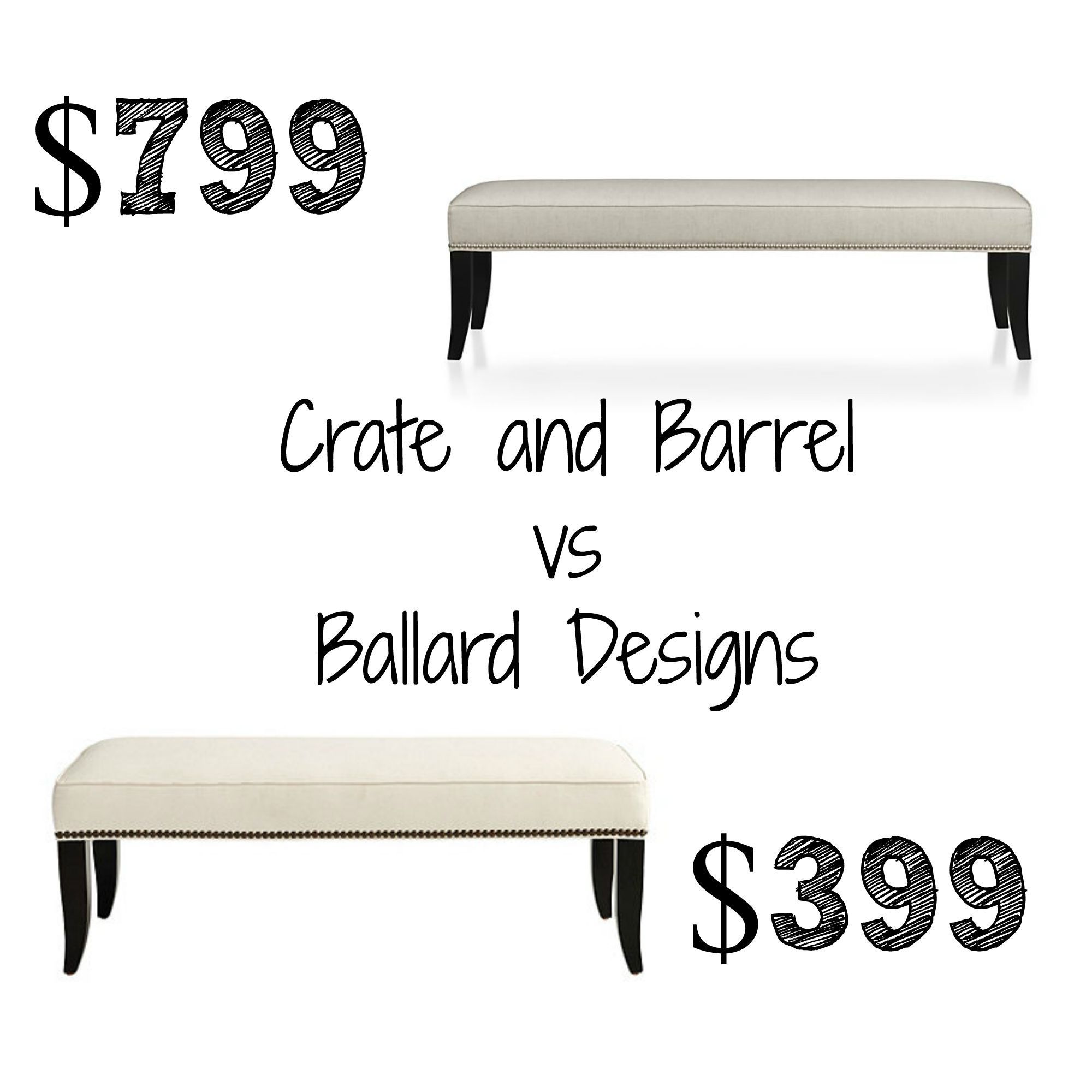Decor Look Alikes | Crate and Barrel Colette King Bench $799 vs $399 ...