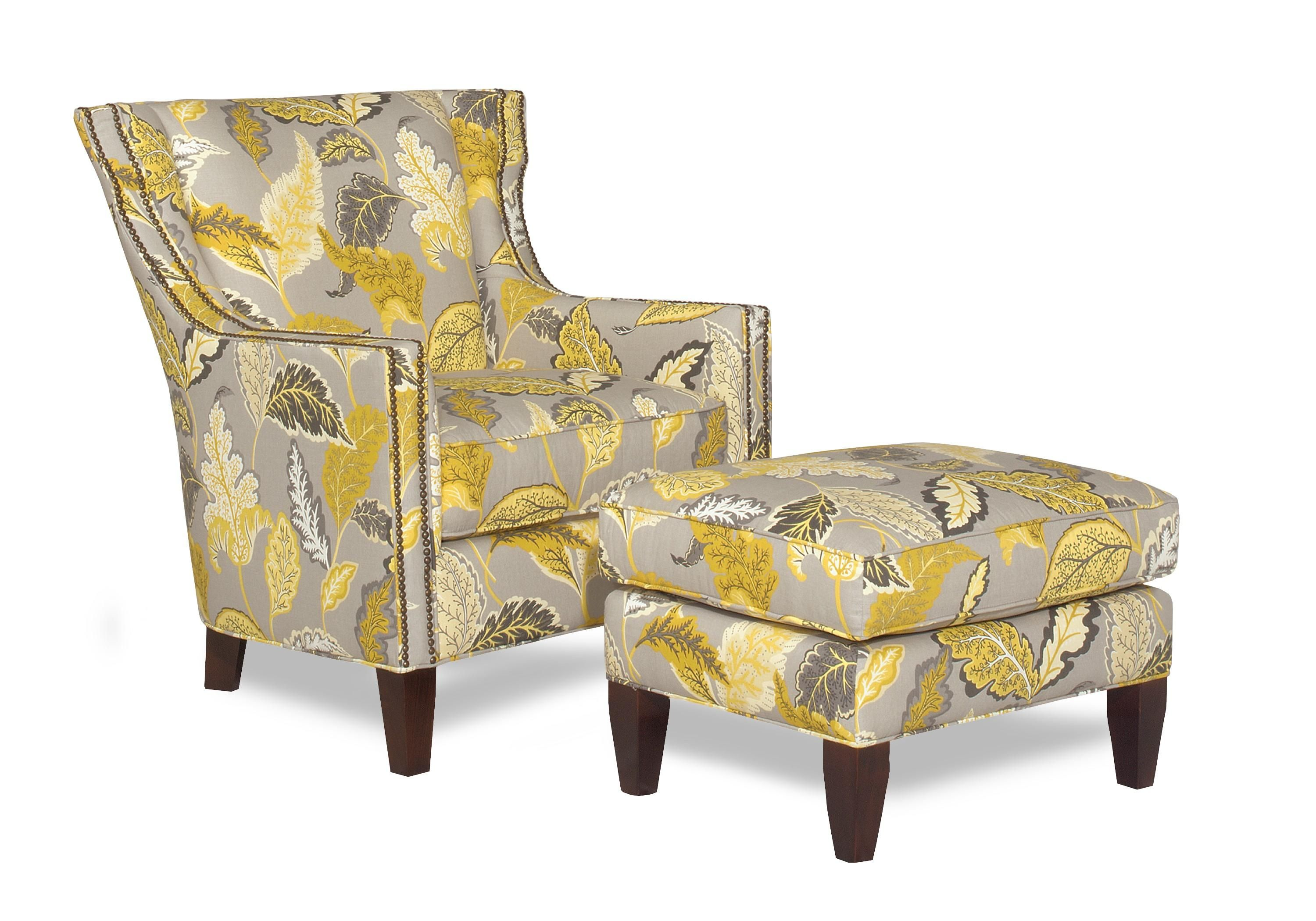 Accent Chairs Transitional Wing Chair And Ottoman With Nailhead
