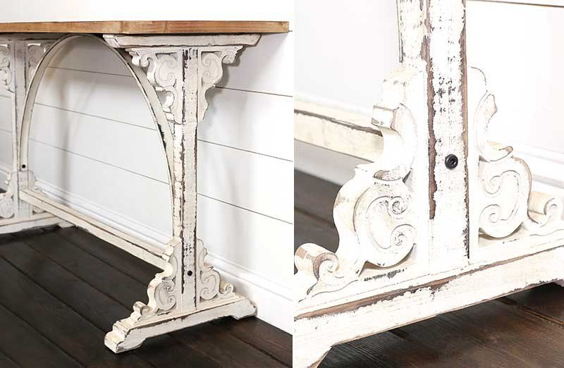 Distressed White Corbel Entry Table Entry Table Distressed White Corbels