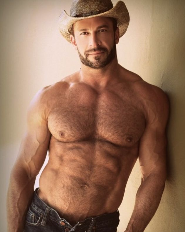handsome shirtless middle aged men