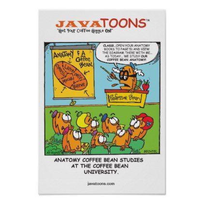 Anatomy cartoon coffee bean poster - fun gifts funny diy customize ...