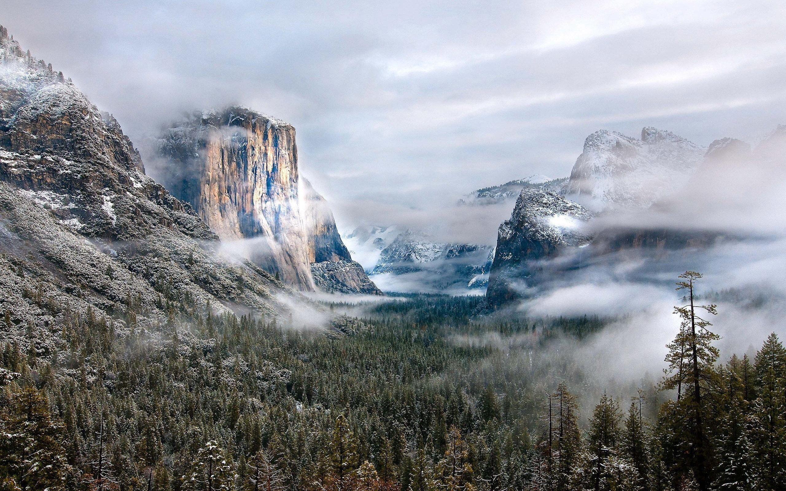 Snow Mountains Landscape Clouds Forest Mist Fog Winter Wallpaper