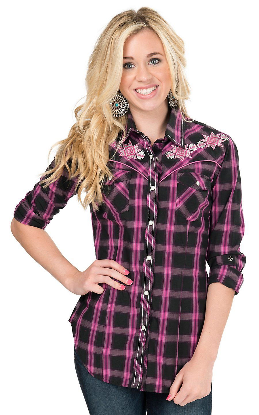 cd23f7895 Rock & Roll Cowgirl Women's Pink & Black Plaid with Aztec Embroidery Long  Sleeve Western Shirt | Cavender's