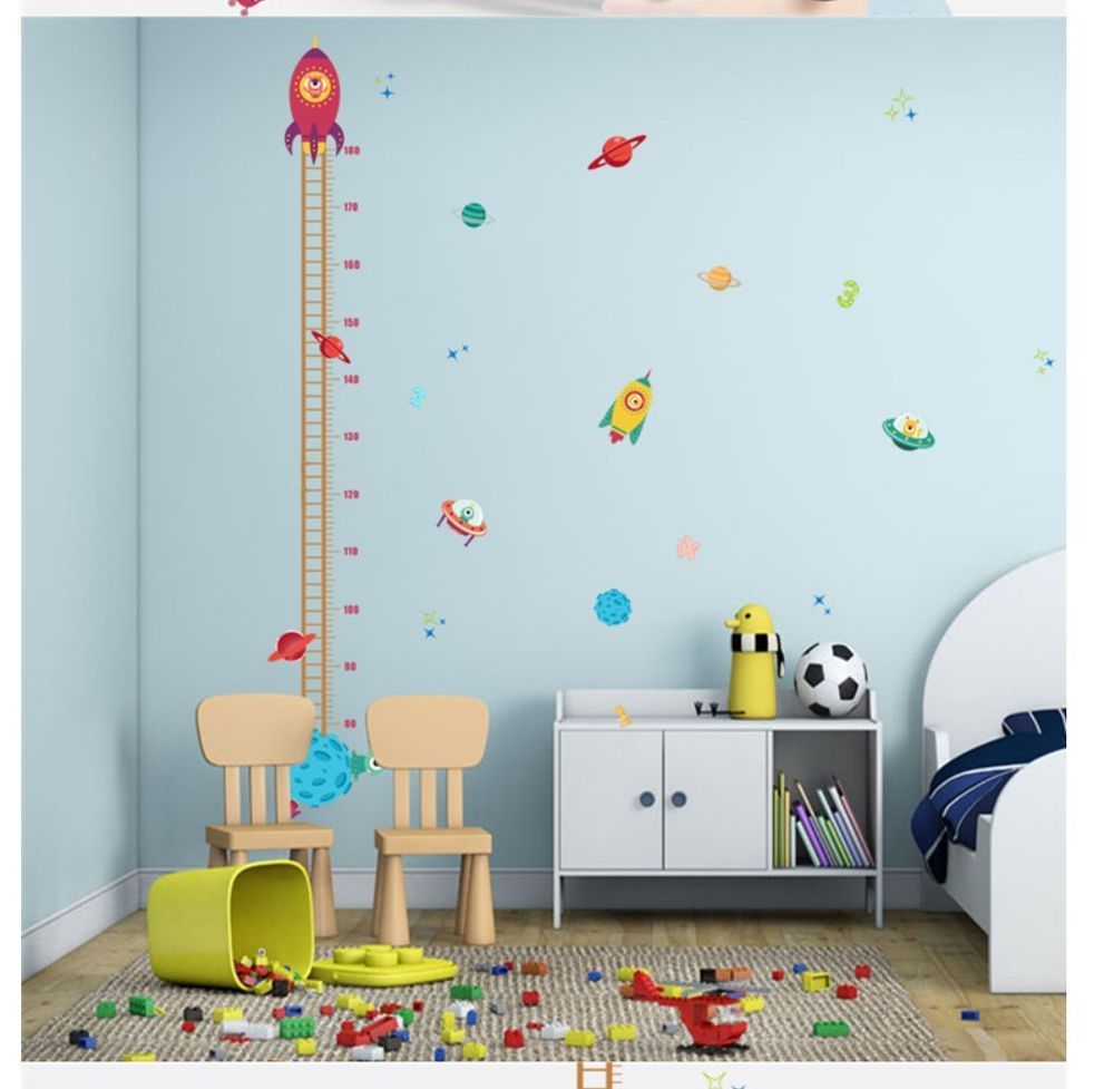 Outer Space Rocket Planet Vinyl Growth Chart Decal Sticker Boy Girl