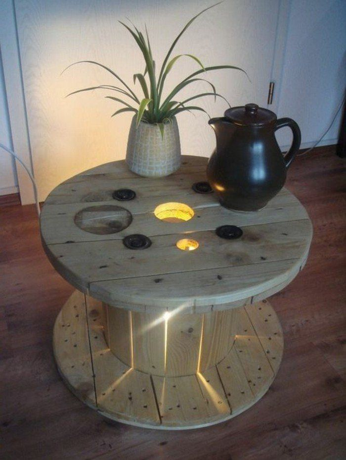 1001 id es que faire avec un touret des inspirations r cup table basse touret deco table. Black Bedroom Furniture Sets. Home Design Ideas