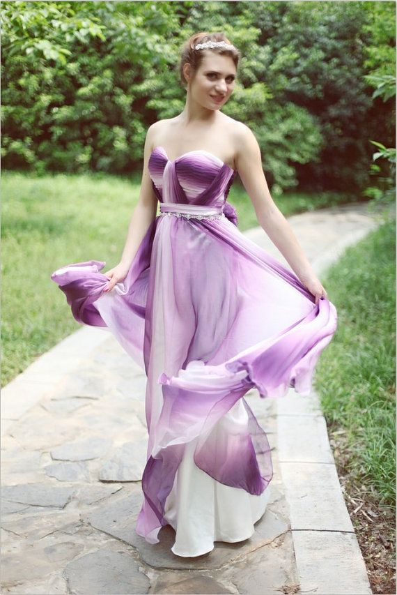 ec93cdc9b9d Gradient Chiffon Bridesmaid Dress Prom Dress Purple White Color Strapless  Sweetheart with beading Sash and flower Low Back