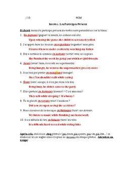 French present participles 15 point quiz grammar activities french present participles 15 point quiz platinumwayz