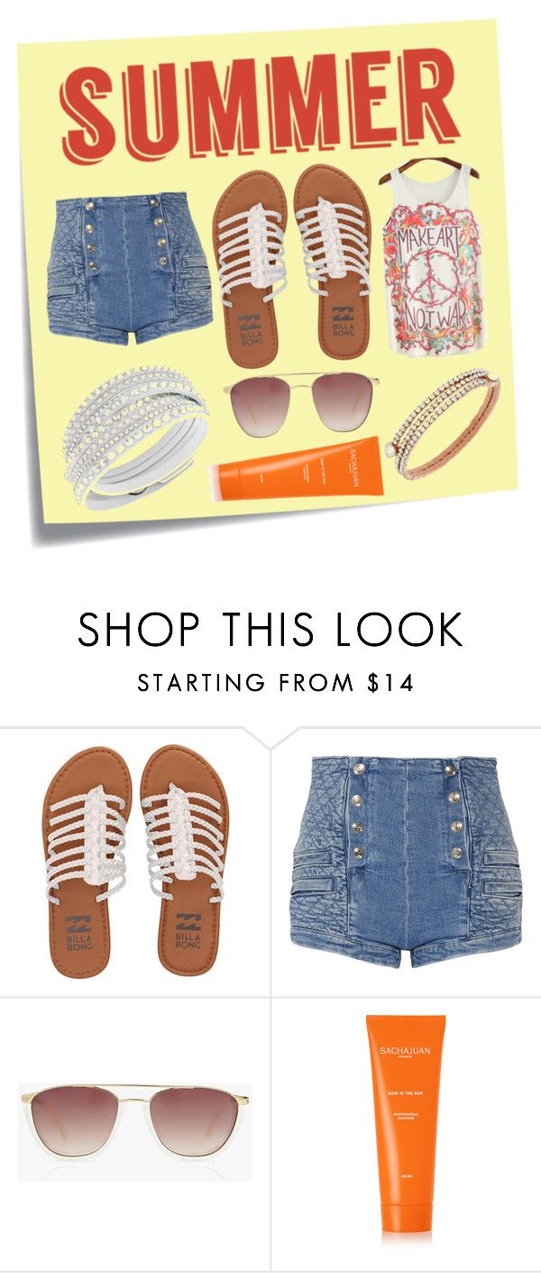 """""""Summer Time"""" by dutyfreecrystal ❤ liked on Polyvore featuring Post-It, Billabong, Pierre Balmain, Boohoo, Sachajuan and summersandals"""