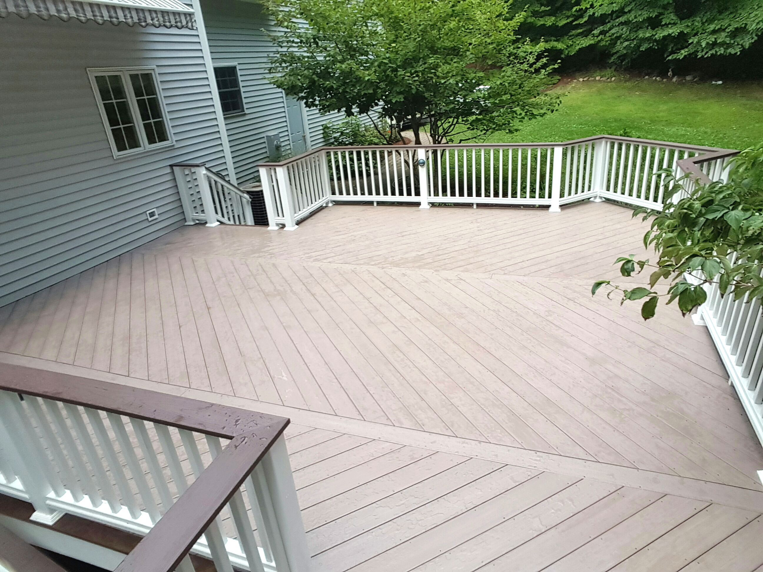 Deck Pictures Custom Azek Deck Morado And Acacia Decking With White Soldid Vinyl Deck Deck Pictures Azek Decking