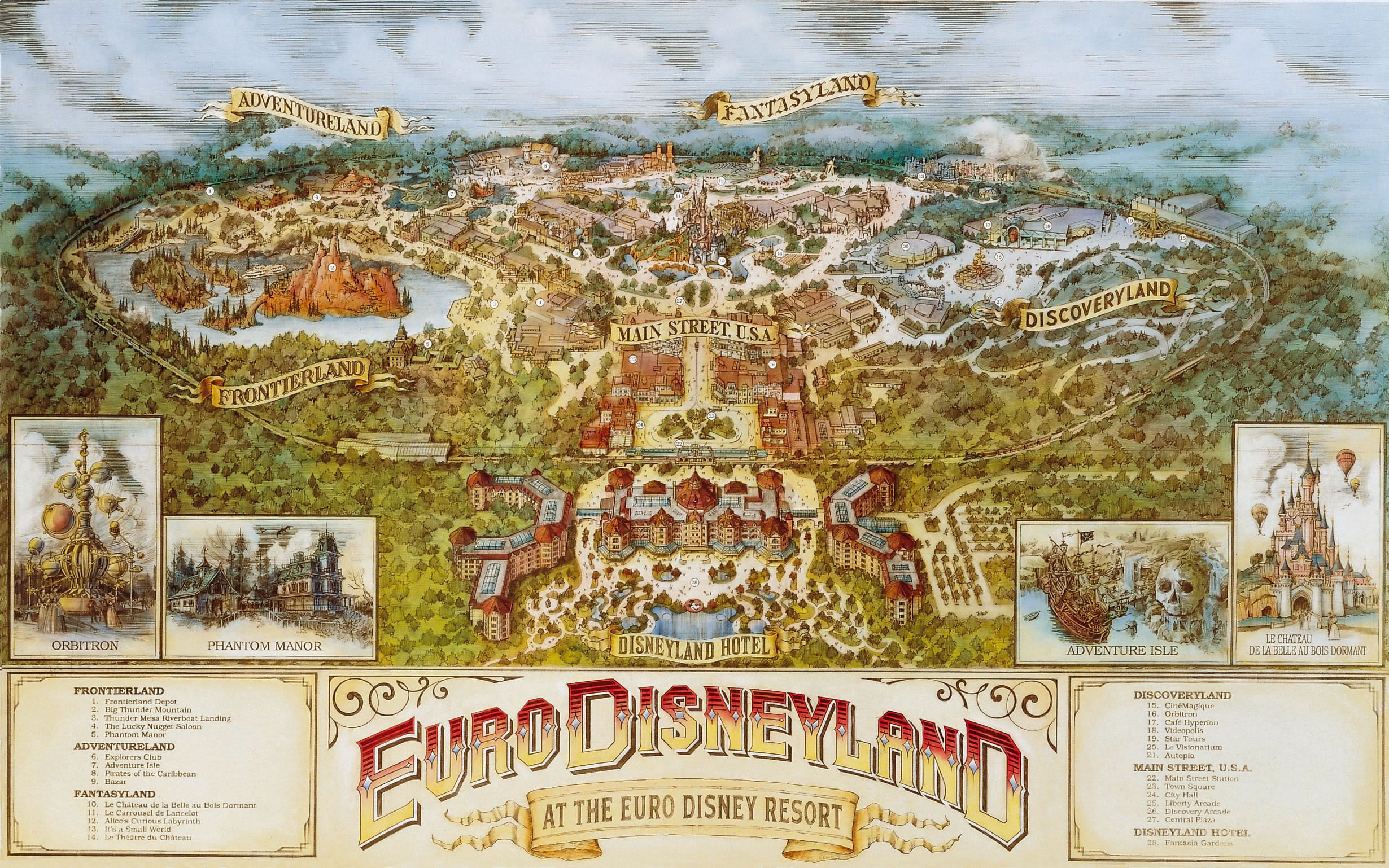 Disneyland Paris Map 1992