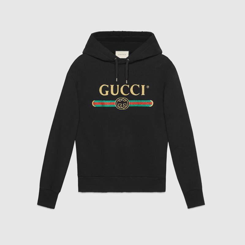 Sudadera de Algodón con Bordado y Logotipo Gucci con Purpurina  229e24d9392