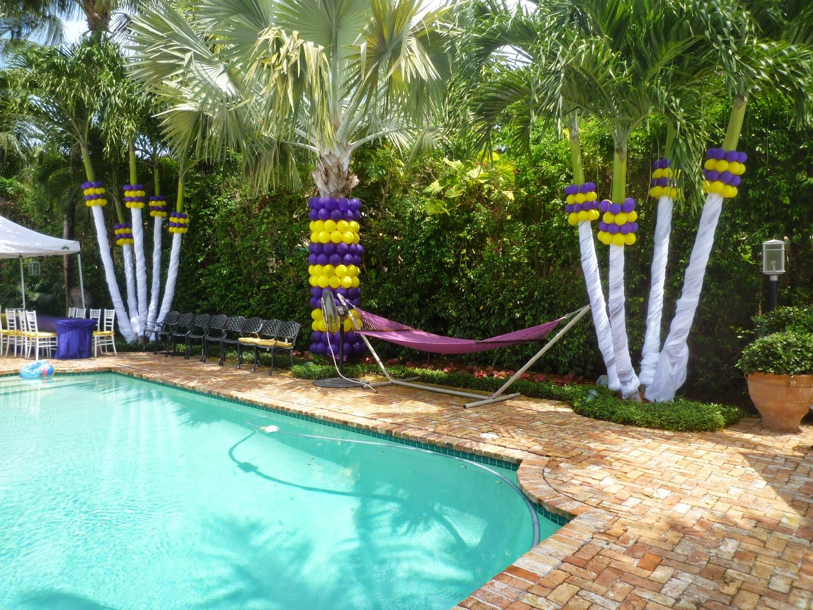 Fabric drape ceiling dancefloor and balloons google for Swimming pool decorations outdoor