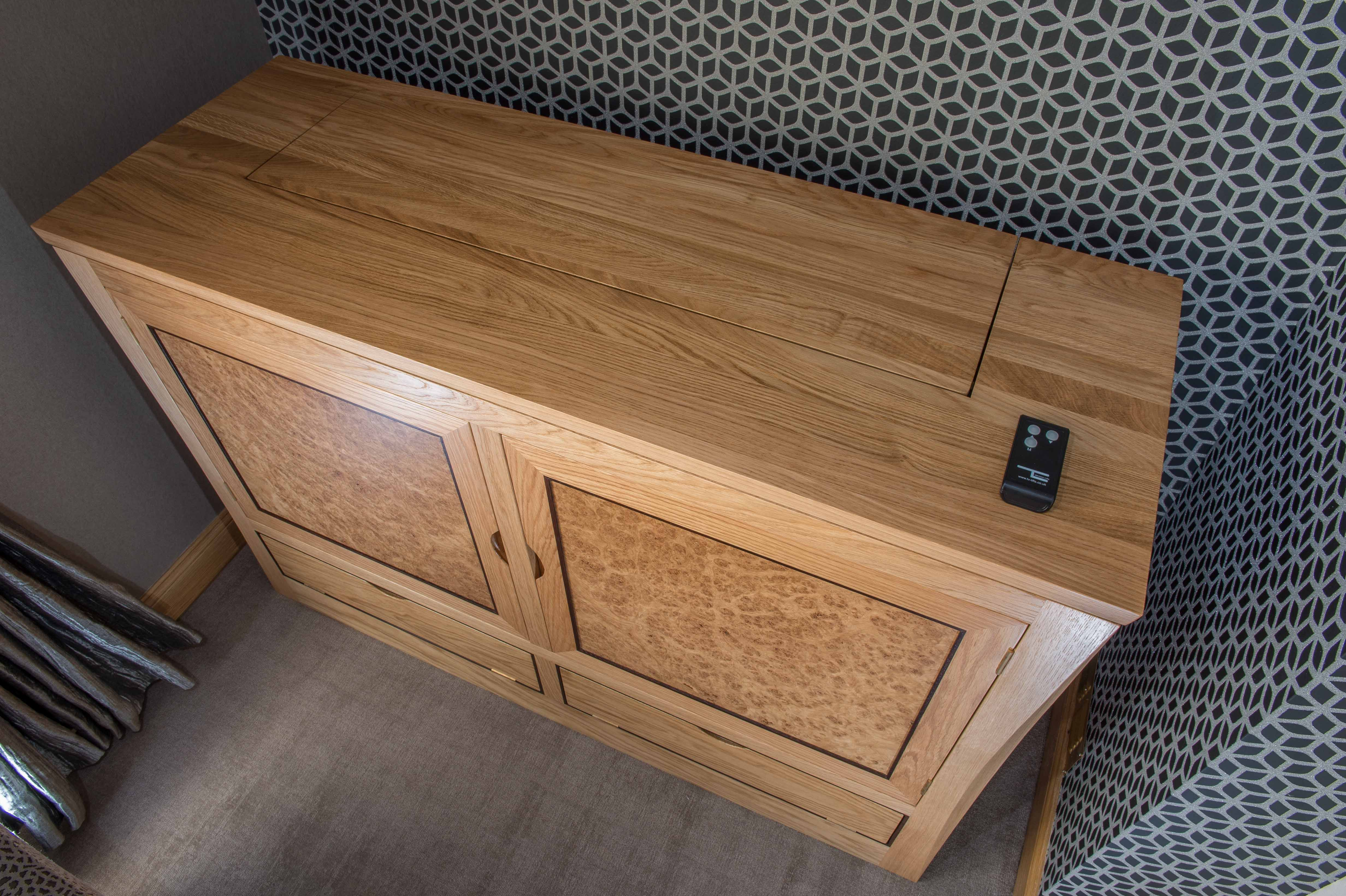 Another View Of The Balm Rise And Fall Tv Cabinet Light Oak Burr Wenge Detail