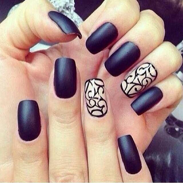 Black Matte Nails & White Nail Design | DIY Nails | Pinterest ...