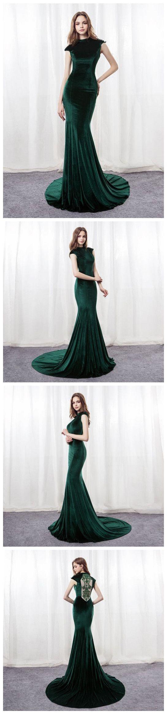 Mermaid prom dresses dark green sweepbrush train scoop long prom