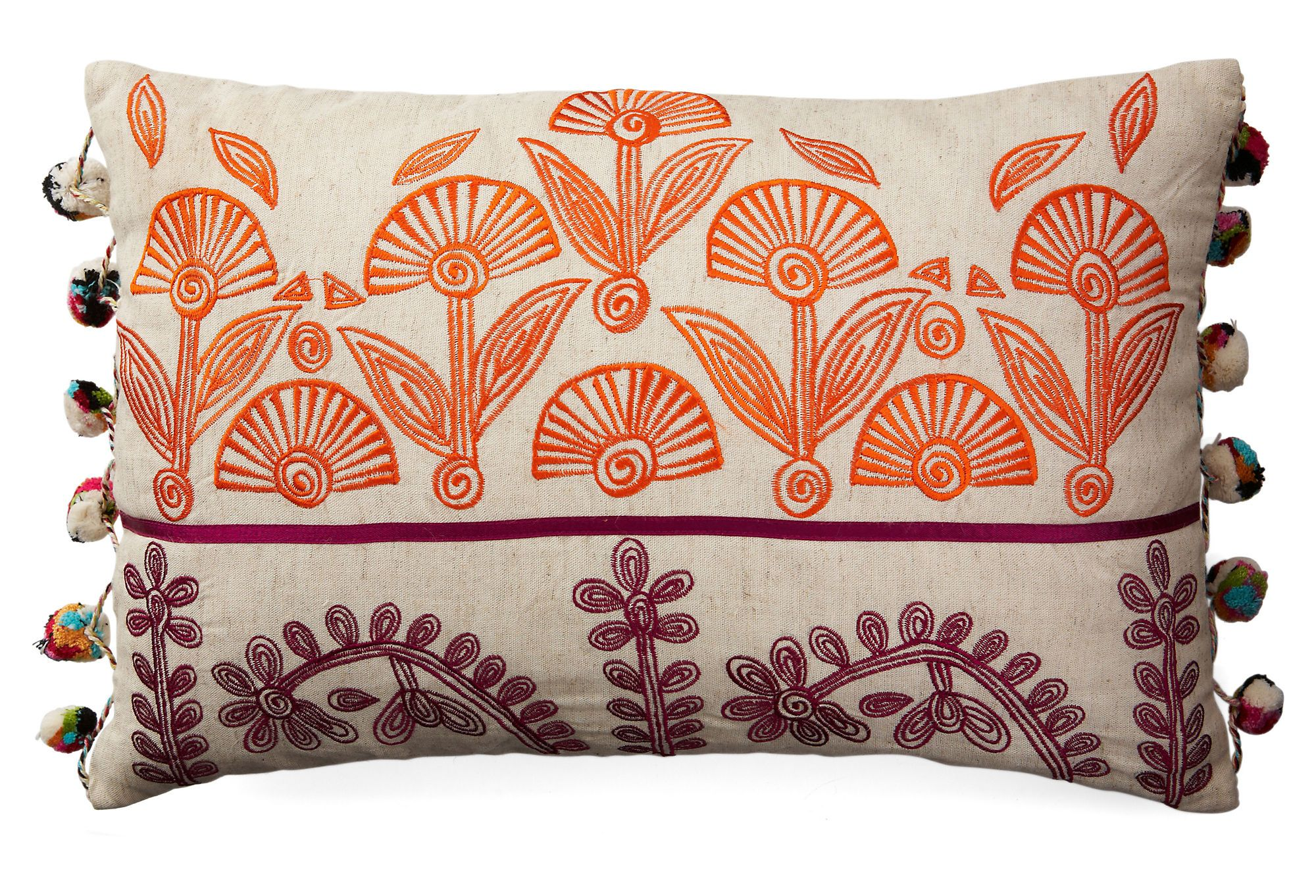 One Kings Lane - Whimsical Accents - Lacee Pom-Pom 12x18 Pillow, Natural