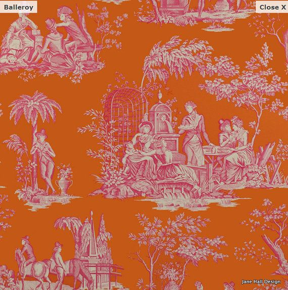Manuel Canovas Pink And Orange Printed Cotton By Janehalldesign