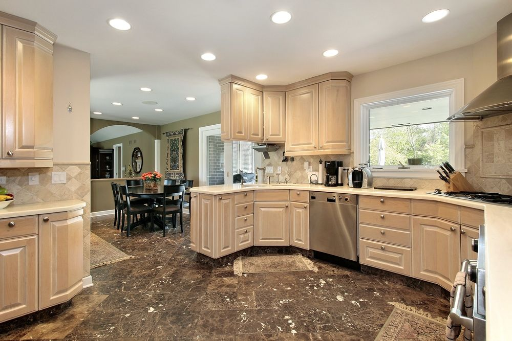 New And Spacious Light Wood Custom Kitchen Designs Whitewash Cabinets