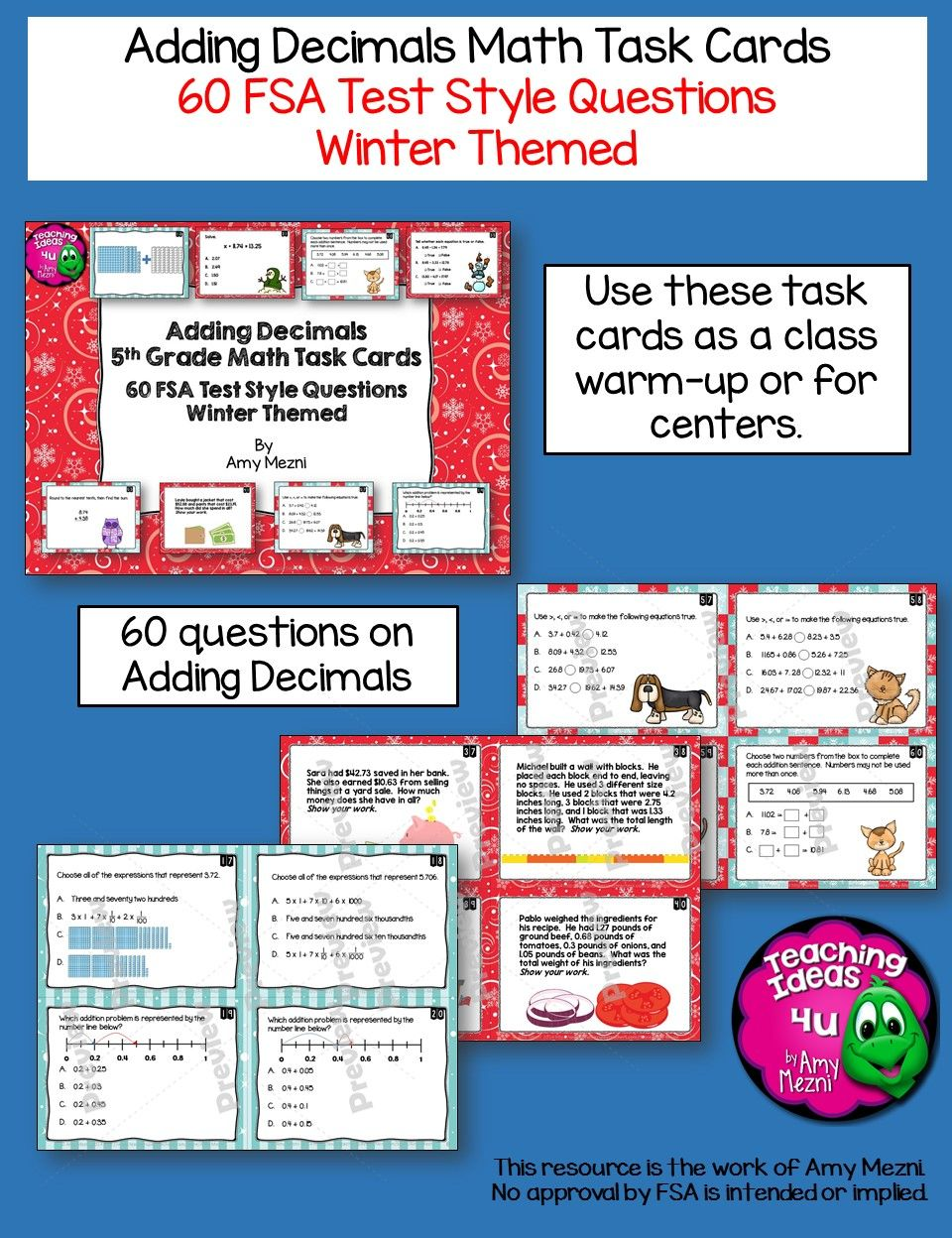 Adding Decimals Task Cards 5th Grade 60 Questions That Cover Base Ten Blocks Number Lines Expanded Form Adding Decimals Task Cards This Or That Questions [ 1248 x 960 Pixel ]