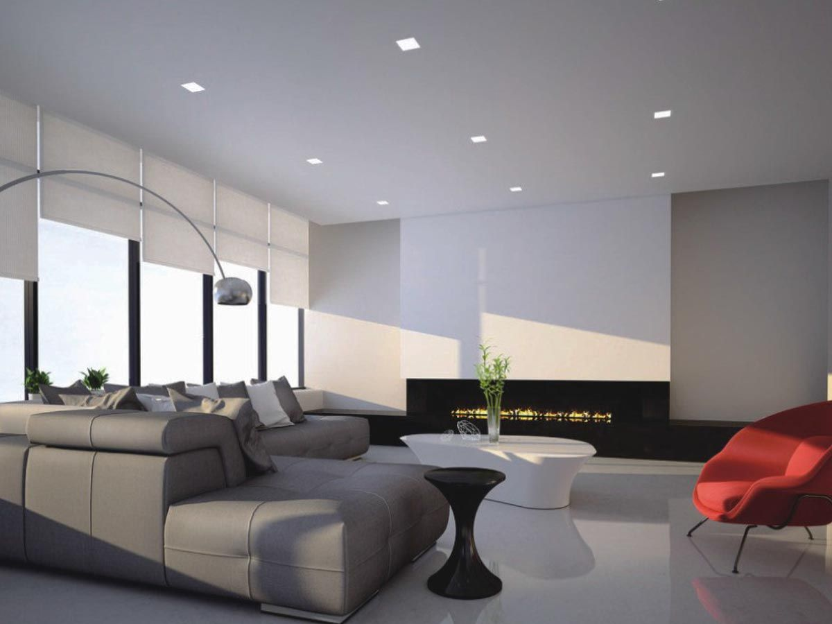 Beautiful Modern Living Room Interior Design With Square Spotlights On The Ceilin Living Room Spotlights Ceiling Lights Living Room Modern Living Room Interior #stand #up #lights #for #living #room