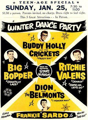 Buddy Holly - Big Bopper - Ritchie Valens 1959 Winter Dance Party - Concert Poster